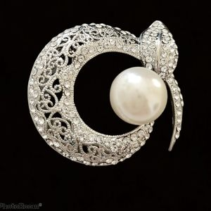 Silver and pearl Mid century modern brooch pin